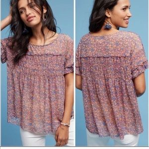 Anthropologie Deletta Robyn Floral Blouse Top M